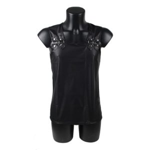men's leather look singlet