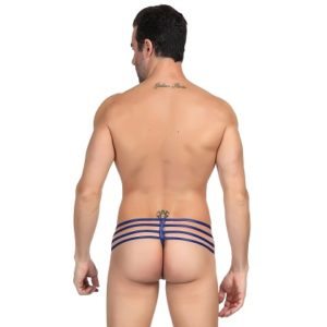 blue zipper g-string for man