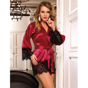 red satin robe with lace