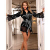 black satin and lace robe