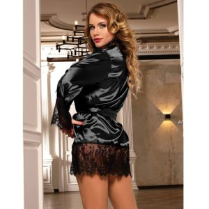 black satin robe lingerie with lace trim