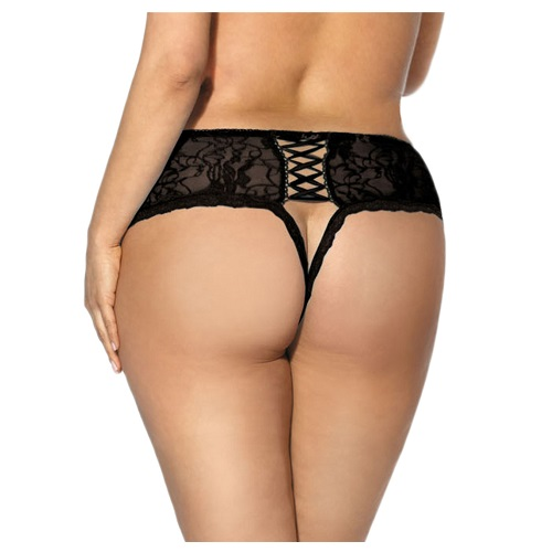 lace open crotch undies in black