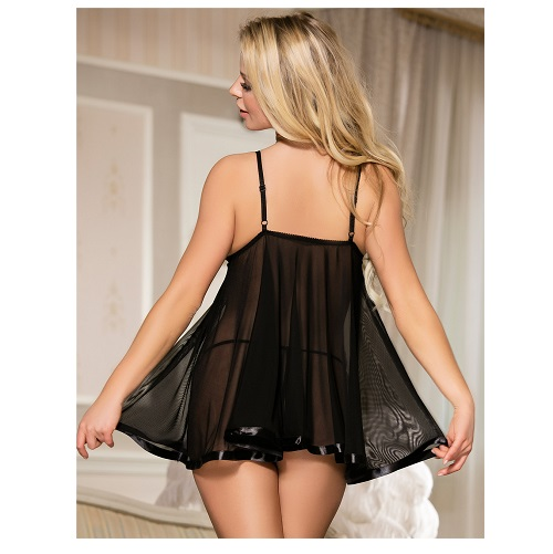 black sheer babydoll with elastic fit