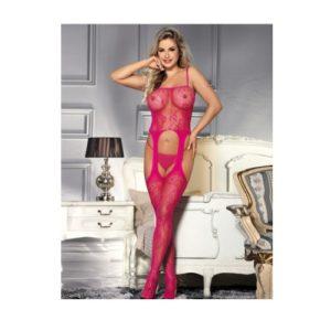 pink fishnet rose body stocking