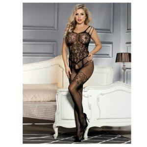 floral mesh black body stocking