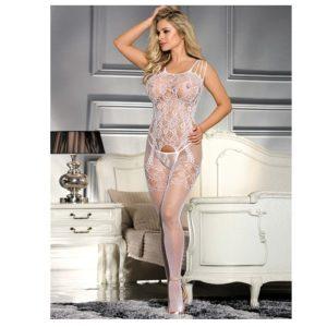 white floral mesh body stocking