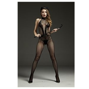 high neck sleeveless body stocking