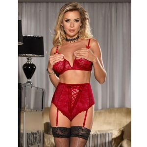 lase open bust bra and suspender set