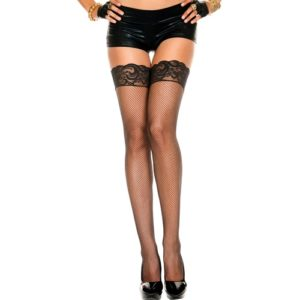 Fishnet Thigh High Stockings with Lace Top black Stockings