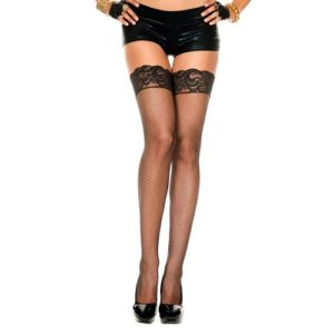 Fishnet Lace Top Silicone Stay Up Music Legs