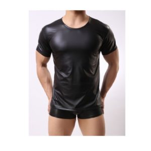 male leather look t-shirt