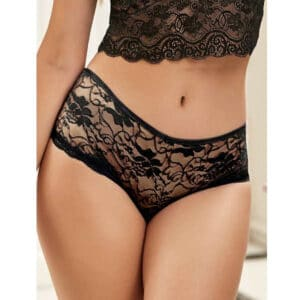 front of black open crotch undies