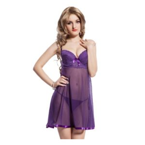 lace top purple transparent baby doll