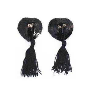 black heart shape nipple tassels