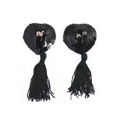 black heart shape nipple tassels