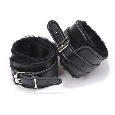 black s and m hand cuffs