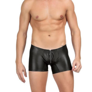 leather look men's brief with zip front