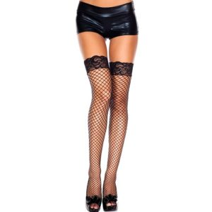 black stay up diamond net stocking