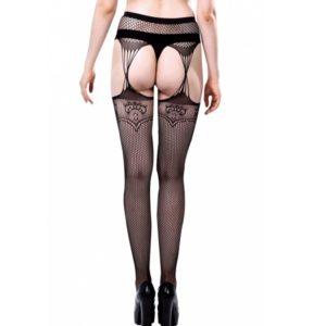 fishnet lace faux garter pantyhose
