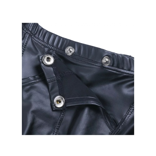 male leather look button brief