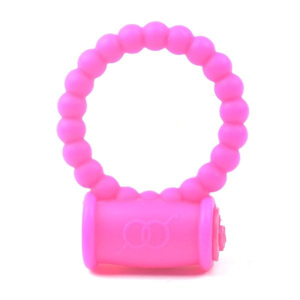pink vibrating beaded silicone ring