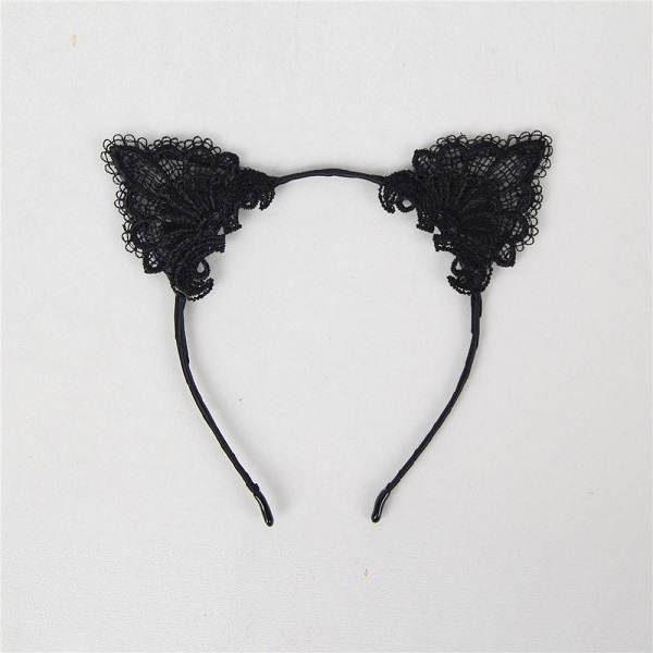 black lace cat ear headband