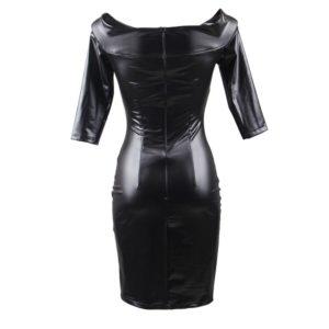off shoulder leather look dress