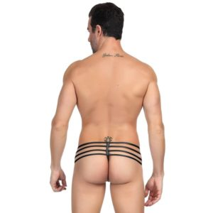 string leather look zipper g-string