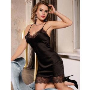 black satin lace night dress