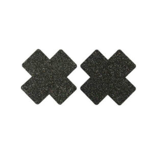 black glitter cross nipple cover
