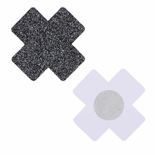cross nipple covers with black glitter