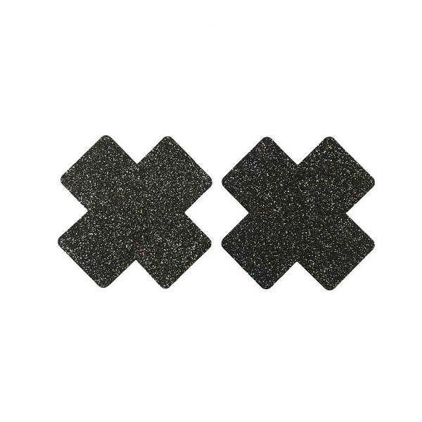 black glitter cross nipple cover