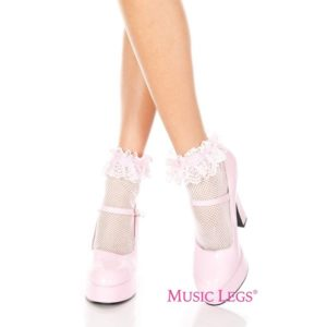 baby pink fishnet anklet with ruffle trim