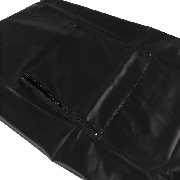 man faux leather apron with zipper opening