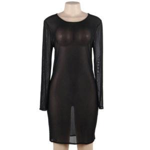 plus size long sleeve sheer dress