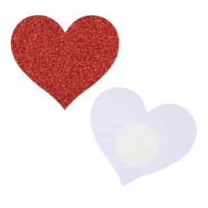 heart shaped nipple sticker red glitter