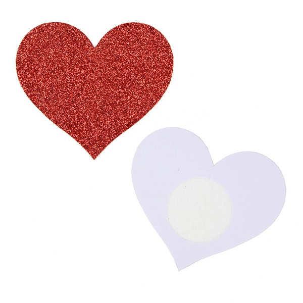 heart shaped nipple sticker red glitter
