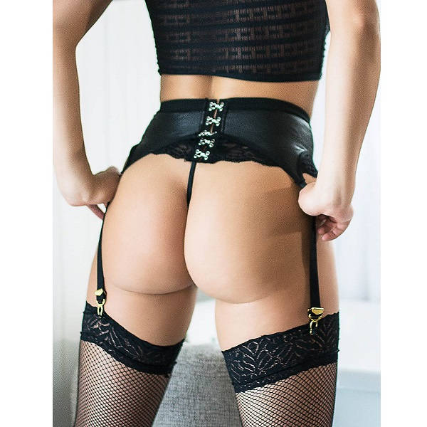 buckle closer lace leather look suspender