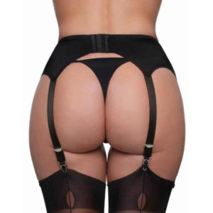 sheer waist high suspender black