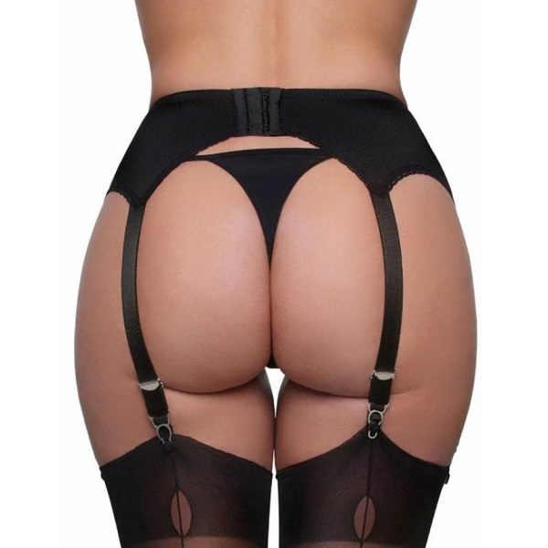 sheer waist high suspender black