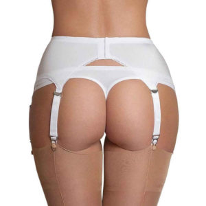 white sheer high waist suspender back closure