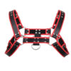 red and black mens bondage chest harness