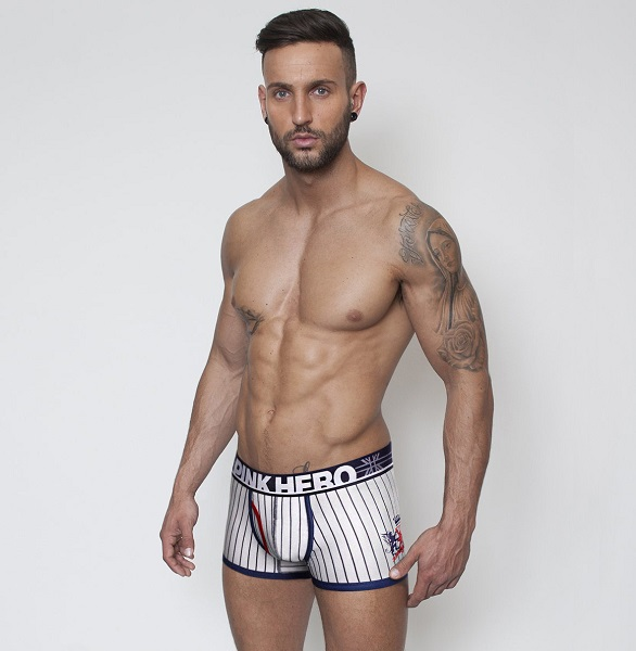 white pink hero stripe brief for men