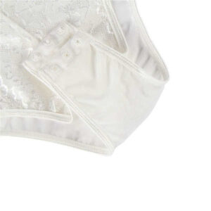 button crotch white eyelash lace bodysuit