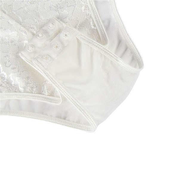 button crotch white eyelash lace bodysuit