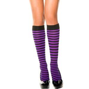 striped knee high stocking purple