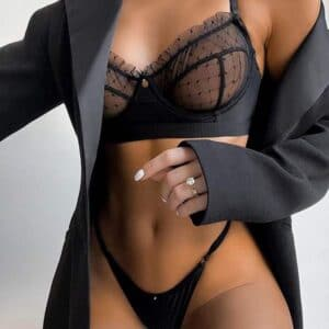transparent lace bra set black