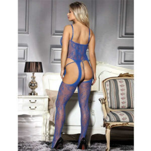 crotchless fishnet rose bodystocking in blue