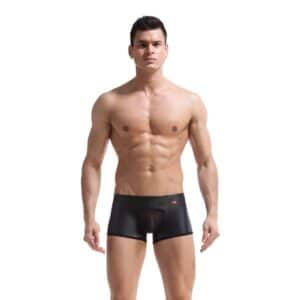 Leather look boxer with mesh pouch