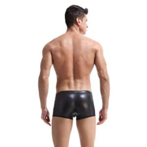 male mesh pouch leather look boxer